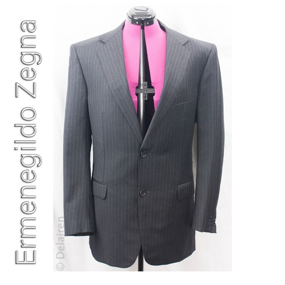 40ba92f507 Charcoal Striped 100% Wool 2 Button Suit Blazer